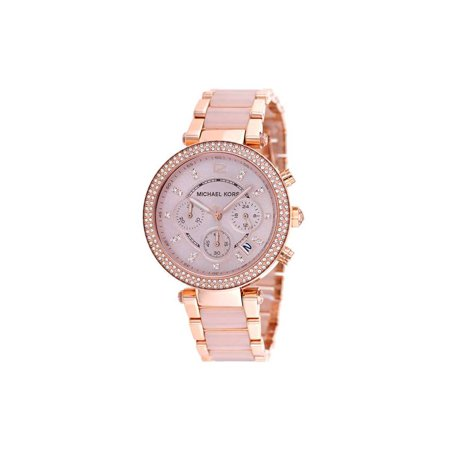 Michael Kors Womens Parker Mk5896 Rose Gold Stainless Steel Plated Japanese Quartz Fashion Watch