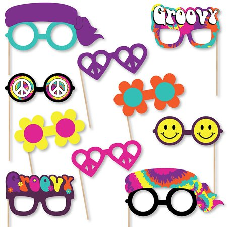 60's Hippie Glasses - Paper Card Stock 1960s Groovy Party Photo Booth Props Kit - 10 Count](Hippie Photo Booth)