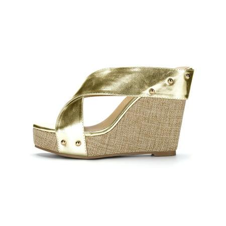 0b5b75abc5ae Unique Bargains Women s Linen Platform Open Toe Slide Wedge Sandals Gold  Tone (Size 9) ...