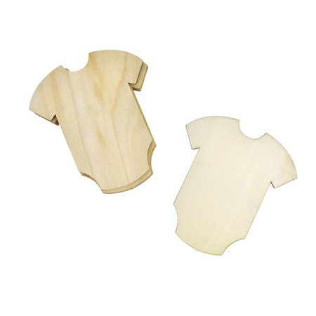Baby Onesie Wooden Cut-Outs, 4-1/4-Inch, 6-Count