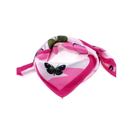 Polyester Butterfly Pattern Neck Scarf Neckercheif Pink Green for Lady