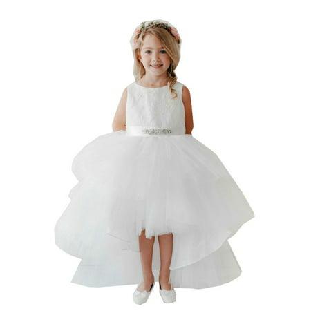 Little Girls White Lace Bodice Beaded Sash Hi-Low Flower Girl Dress (Beaded Bodice)