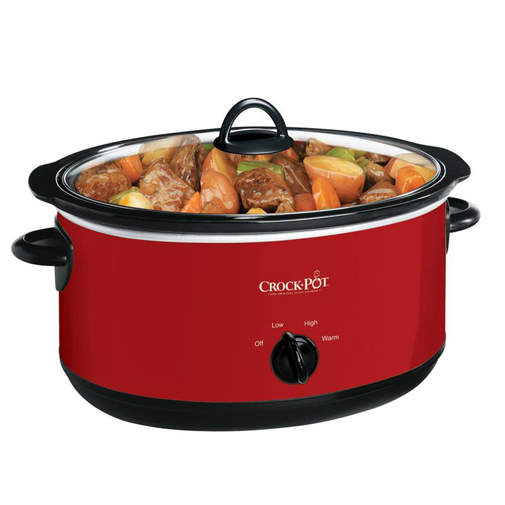 Crock-Pot SCV800-R Extra Large Oval Stoneware 8 Quart Manual Slow Cooker, Red