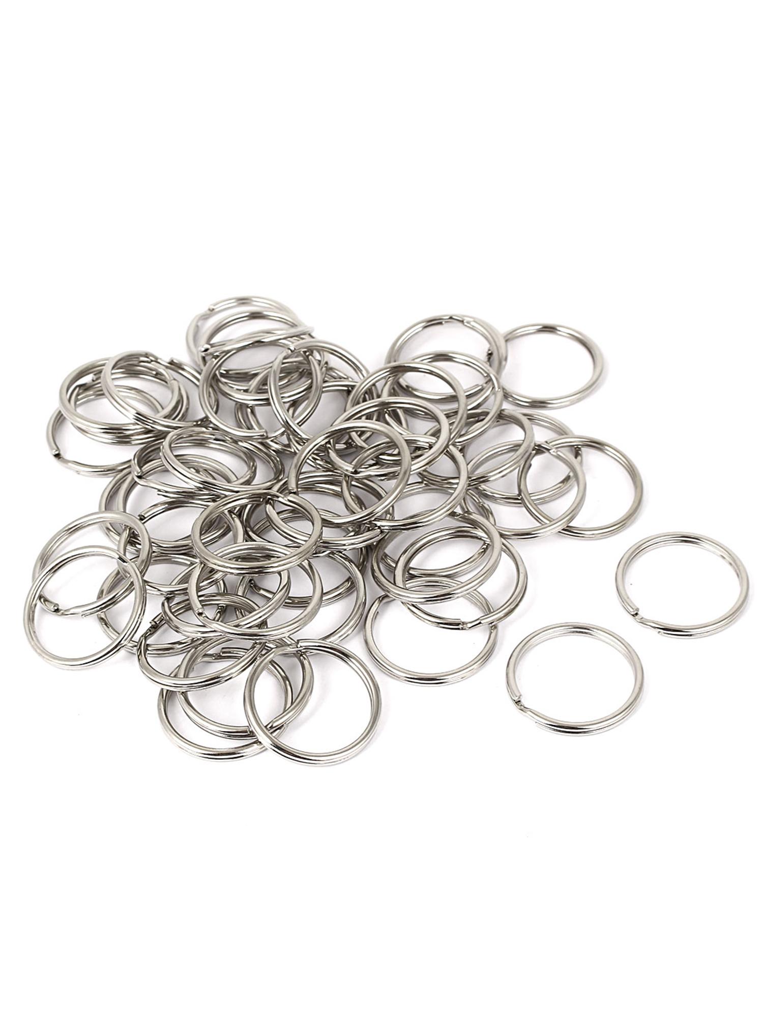 50pcs 28mm Dia Silver Tone Metal Split Ring Key Keychain Keyring
