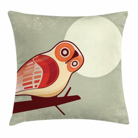 Owl Throw Pillow Cushion Cover, Full Moon Night with Nocturnal Large Eyed Animal on the Tree Branch Caricature Image, Decorative Square Accent Pillow Case, 16 X 16 Inches, Multicolor, by Ambesonne ()