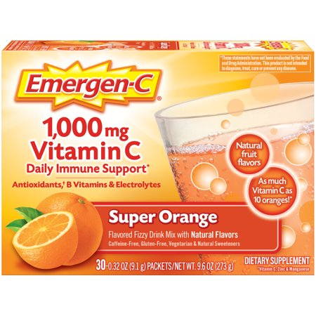 Emergen-C 1000mg Vitamin C Powder, with Antioxidants, B Vitamins and Electrolytes for Immune Support, Caffeine Free Vitamin C Supplement Fizzy Drink Mix, Super Orange Flavor - 30 Count/1 Month Supply