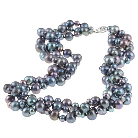 - Sterling Silver 4 -8 mm Black Freshwater Pearl 3-row Twisted Necklace 18