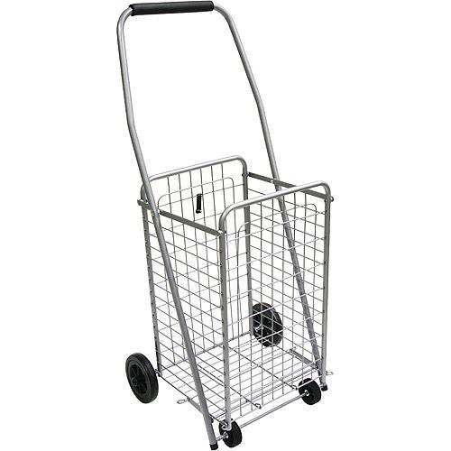 4-Wheel Cart Pre-Assembled Shopping Cart, Silver