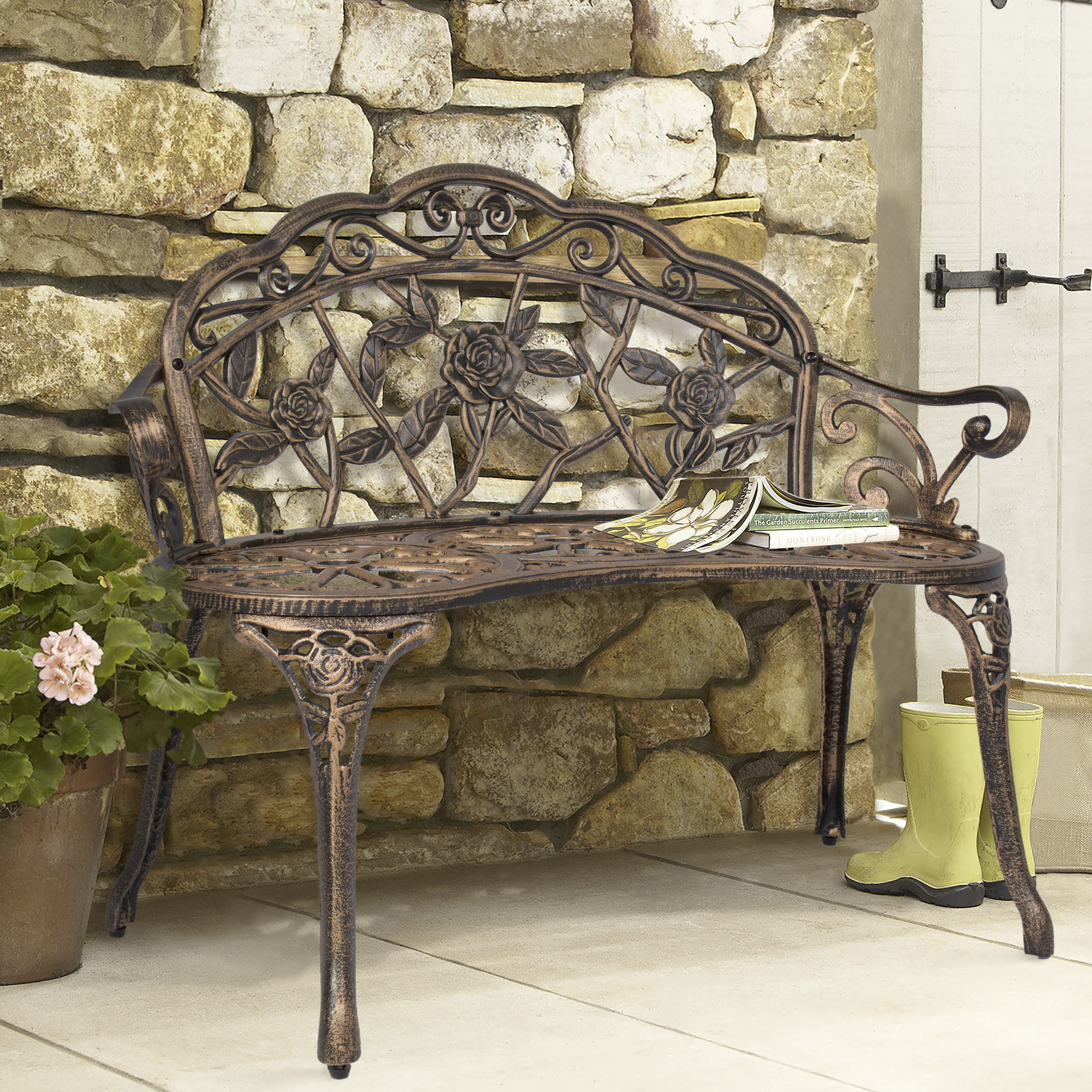 BCP Outdoor Patio Garden Bench Park Yard Furniture Cast Iron Antique Rose Bronze by