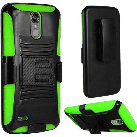 Insten For LG Stylo 3/Stylo 3 Plus Black Green Hard Silicone Hybrid Case Holster