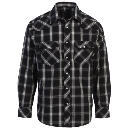 Plaid Pearl Snap (Gioberti Men's Western Plaid Long Sleeve Shirt with Pearl Snap )