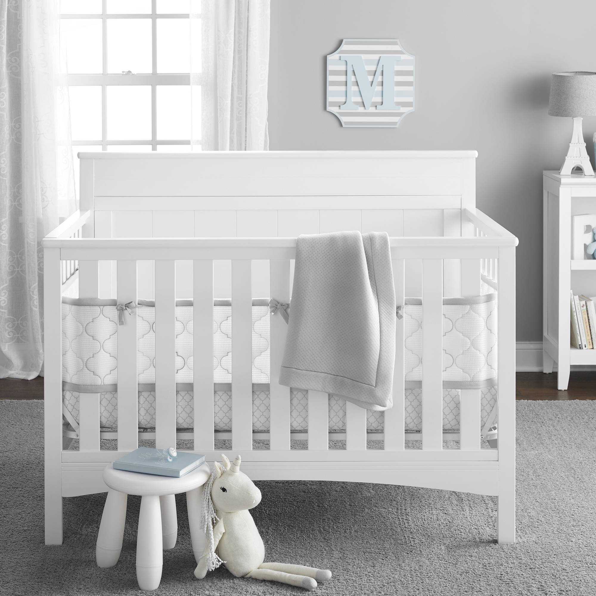 BreathableBaby Five-Piece Ultra Luxe Breathable Crib Bedding Set, Gray