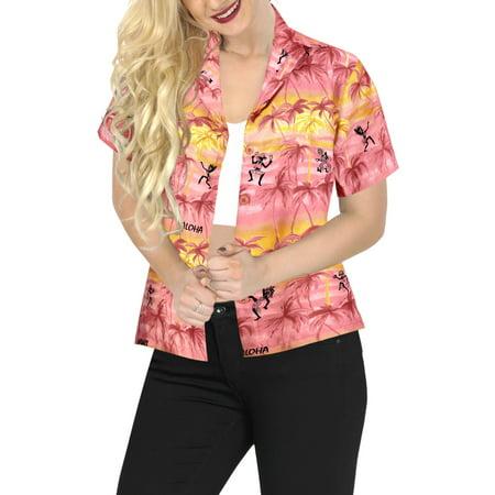 Top Women Hawaiian Shirt Beach Tank Blouses Casual Aloha Holiday Boho Button Up
