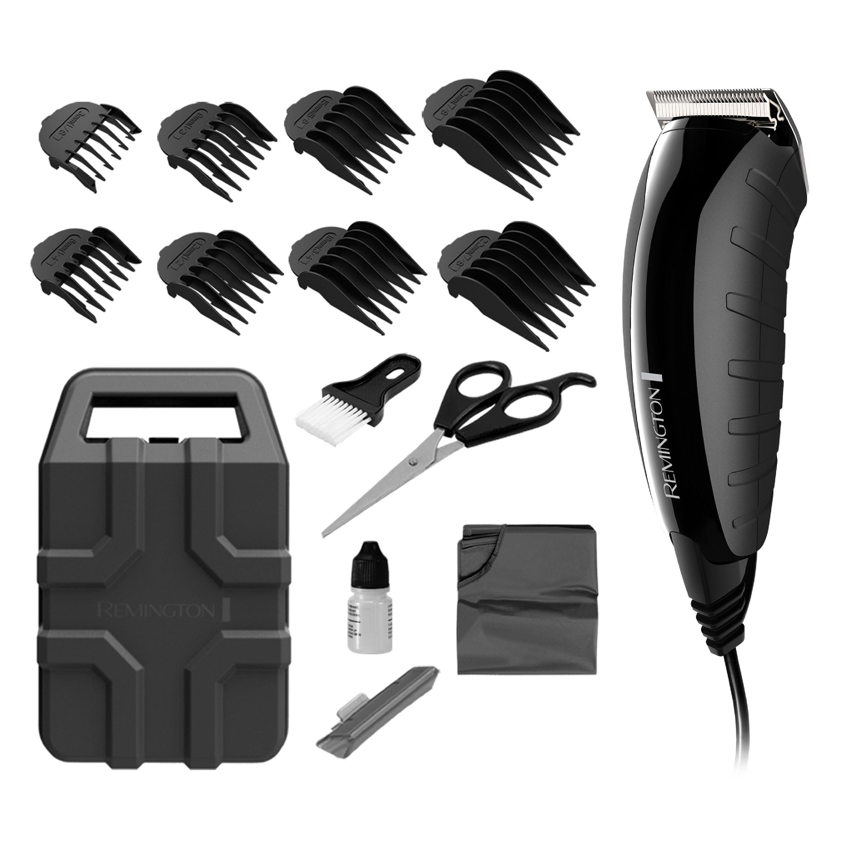 Remington Virtually Indestructible™ Barbershop Clipper, 15-Piece Kit, Hair Cut Kit, Black, HC5850A