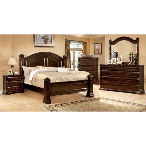 Furniture of America Tasine Cherry 4-Piece Poster Bedroom Set by Overstock