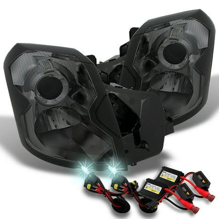 Fits 03-07 Cadillac CTS Halogen Smoke Headlights + Slim Ballast 8000K HID Kit (05 Cadillac Cts Headlight)