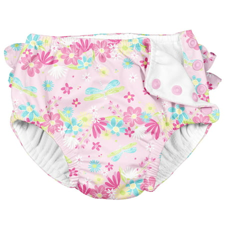 i play Unisex Reusable Absorbent Baby Swim Diapers - Swimming Suit Bottom | No Other Diaper Necessary Pink Dragonfly 18 Months