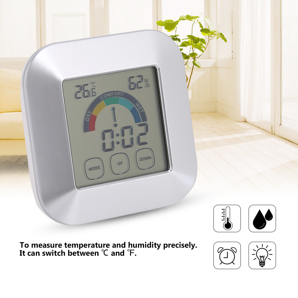 Indoor Digital Thermometer Hygrometer Temperature Humidity Time Comfort Level Display,Temperature Meter, Humidity Meter