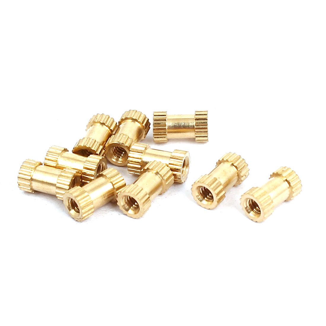 Unique Bargains M2x6mmx3.5mm Female Threaded Brass Knurled Insert Embedded Nuts Gold Tone 10pcs