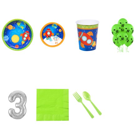 Rocket to Space 3rd birthday supplies party pack for 16