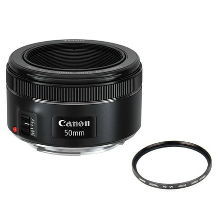 Canon EF 50mm f/1.8 STM Auto Focus Lens + 49 UV Filter for Canon T6i, T6s, (Lens Contrast)