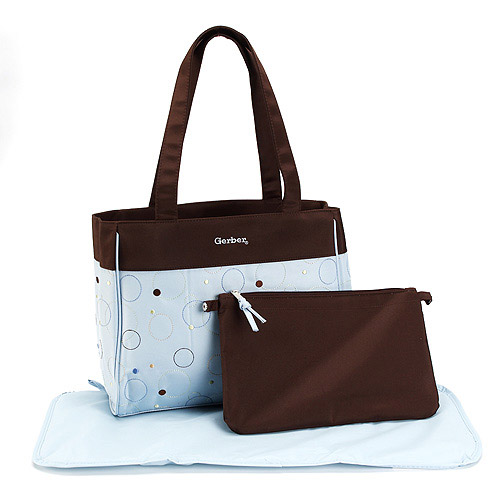 Gerber - Embroidered Microfiber Diaper Bag, Blue and Brown