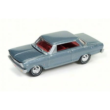 1965 Chevy Nova SS, Glacier Gray - Round 2 JLMC010B - 1/64 Scale Diecast Model Toy
