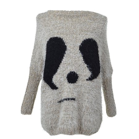 S/M Fit Grey Panda Face Image Fuzzy Furry Long Loose Dolman Sweater