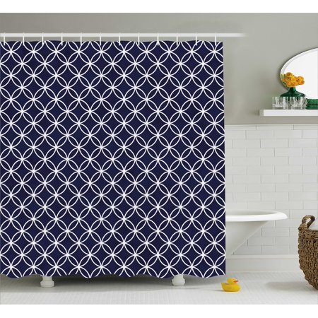 - Indigo Shower Curtain, Trellis Inspired Pattern Quatrefoil Circles Moroccan Style Tile Theme Image, Fabric Bathroom Set with Hooks, Indigo and White, by Ambesonne