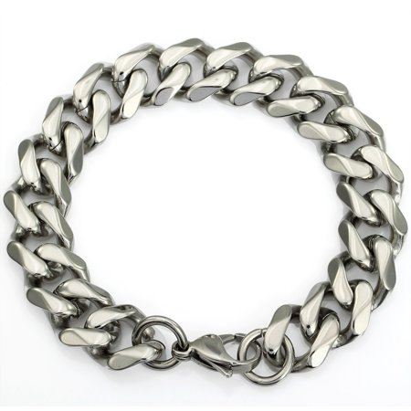 Hermah 14mm Stainless Steel Silver Tone Cut Curb Cuban Mens Boys Link Chain Bracelet 8-11inch (Boys Link)