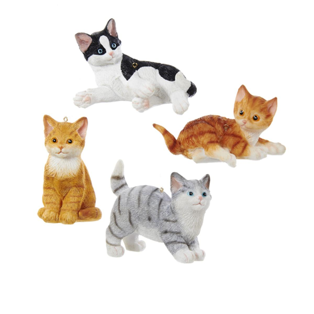 "3"" Orange Striped Sitting Cat Decorative Novelty Christmas Ornament"