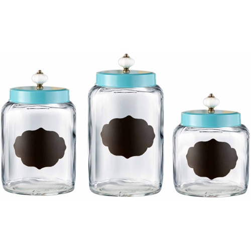 3-Piece Glass Canister Set, Turquoise