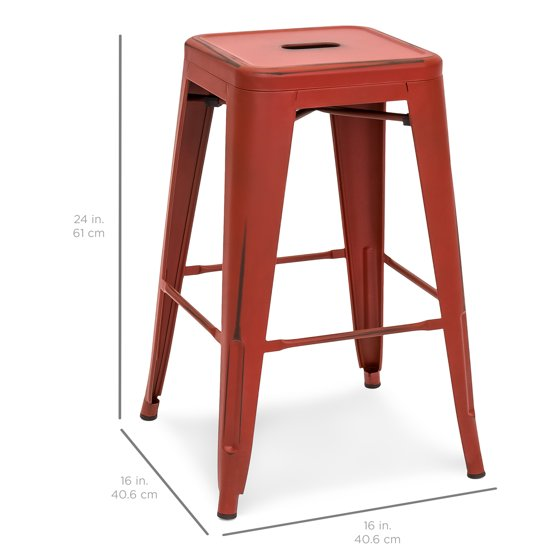 Remarkable Best Choice Products 24In Set Of 4 Stackable Modern Industrial Distressed Metal Counter Height Bar Stools Red Cjindustries Chair Design For Home Cjindustriesco