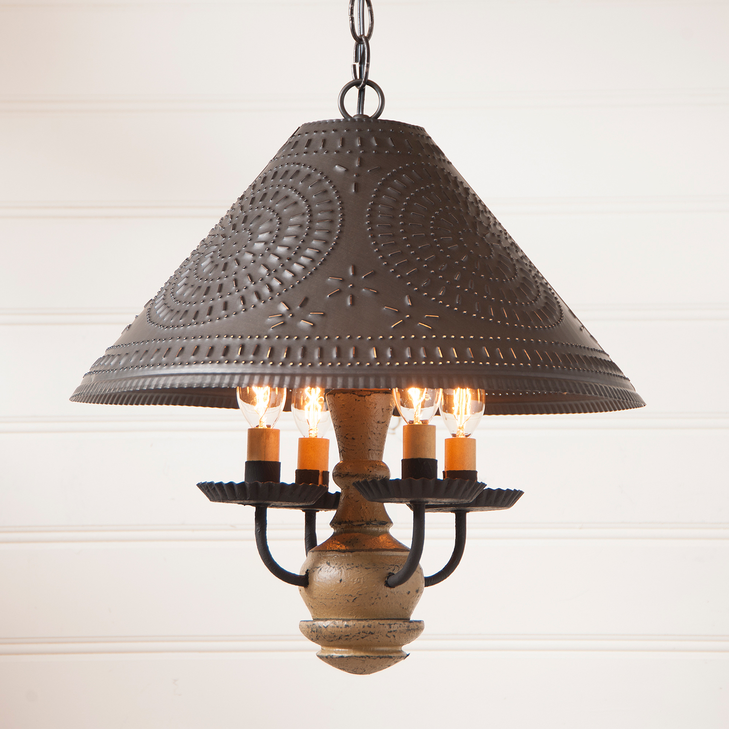 Wooden Homespun Shade Light in Pearwood