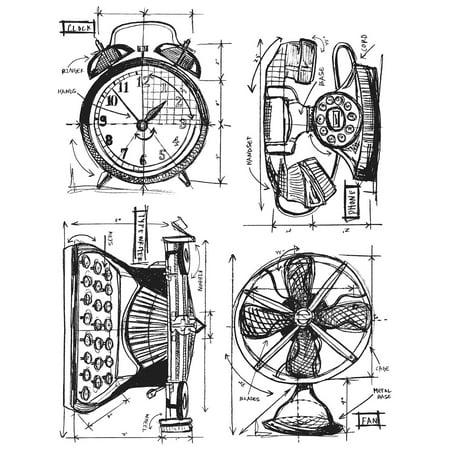 "Tim Holtz Cling Stamps 7""X8.5""-Vintage Things Blueprint - image 1 de 1"