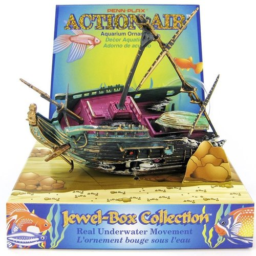 Penn Plax Action Aerating Half Shipwreck Half Shipwreck - (5 Inch L x 3.5 Inch H or 7 Inch H With Mast Raised)