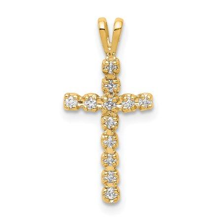 14K Yellow Gold Plated AA Diamond Latin Cross Pendant
