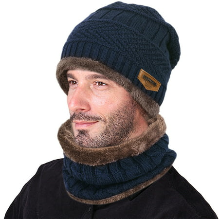 VBIGER Winter Beanie Hat Scarf Set Warm Knit Hat Thick Knit Skull Cap For Men - 1920s Mens Accessories