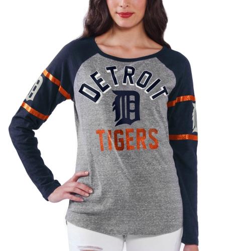 Women's Gray Detroit Tigers Baserunner Long Sleeve T-Shirt