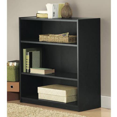 Mainstays 3-Shelf Wood Bookcase, Multiple Colors