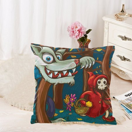 MKHERT Scary Little Red Riding Hood and Big Bad Wolf Throw Pillowcase Pillow Cover Cushion Couver 18x18 - Little Red Riding Hood And Wolf Costume