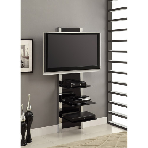 AltraMount Black and Chrome Wall Mount TV Stand for TVs up to 60""