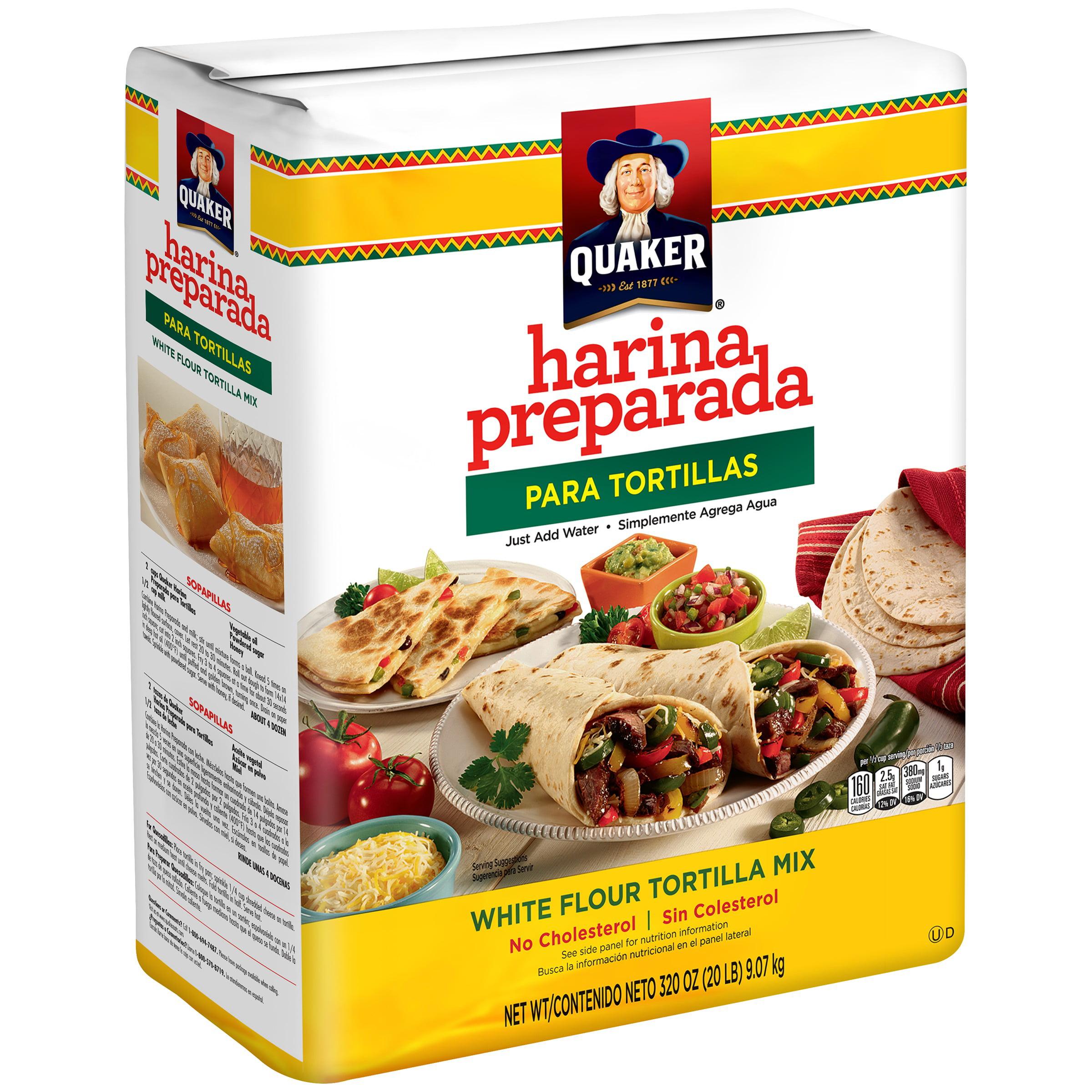 Quaker Harina Preparada Para Tortillas White Flour Tortilla Mix 20 Lb Bag