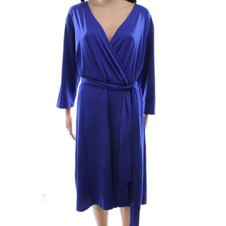 INC NEW Goddess Blue Womens Size 1X Plus Surplice Belted Sheath Dress - Greek Goddess Clothing Styles