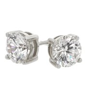 Kate Bissett E00243RS-S01 White Gold Plated over .925 Sterling Silver 6.25mm 3A Grade Prong Set Round Cut Clear CZ Stud Earrings in Silvertone
