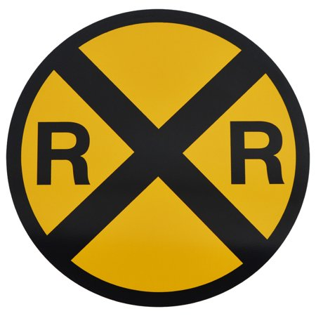 Yellow Metal Caution Railroad Crossing Road/Street Sign Warning Train RR XING