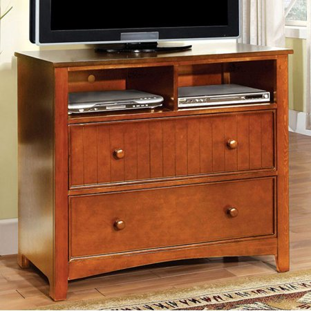Brown Media Chest (Transitional Style Wooden Media Chest, Oak Brown)