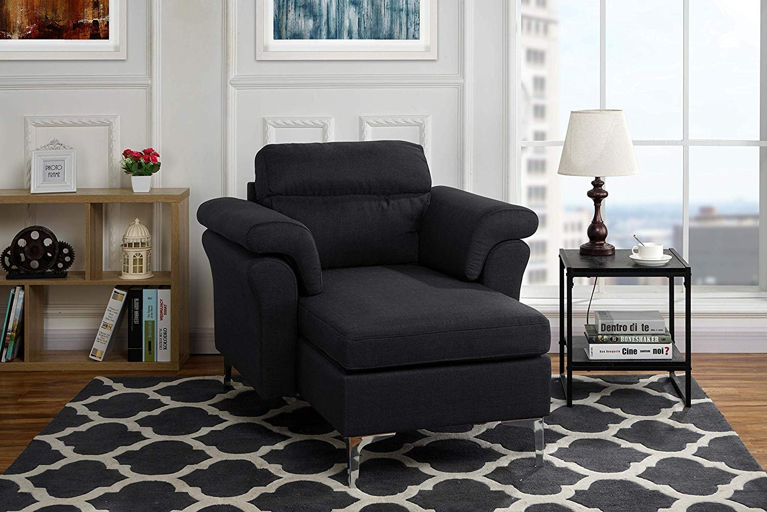 Modern Living Room Fabric Chaise Lounge with Chrome Legs ...