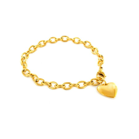 Gold Charm Bracelets (Heart Dangle Charm Gold IP Stainless Steel Bracelet (6mm) -)