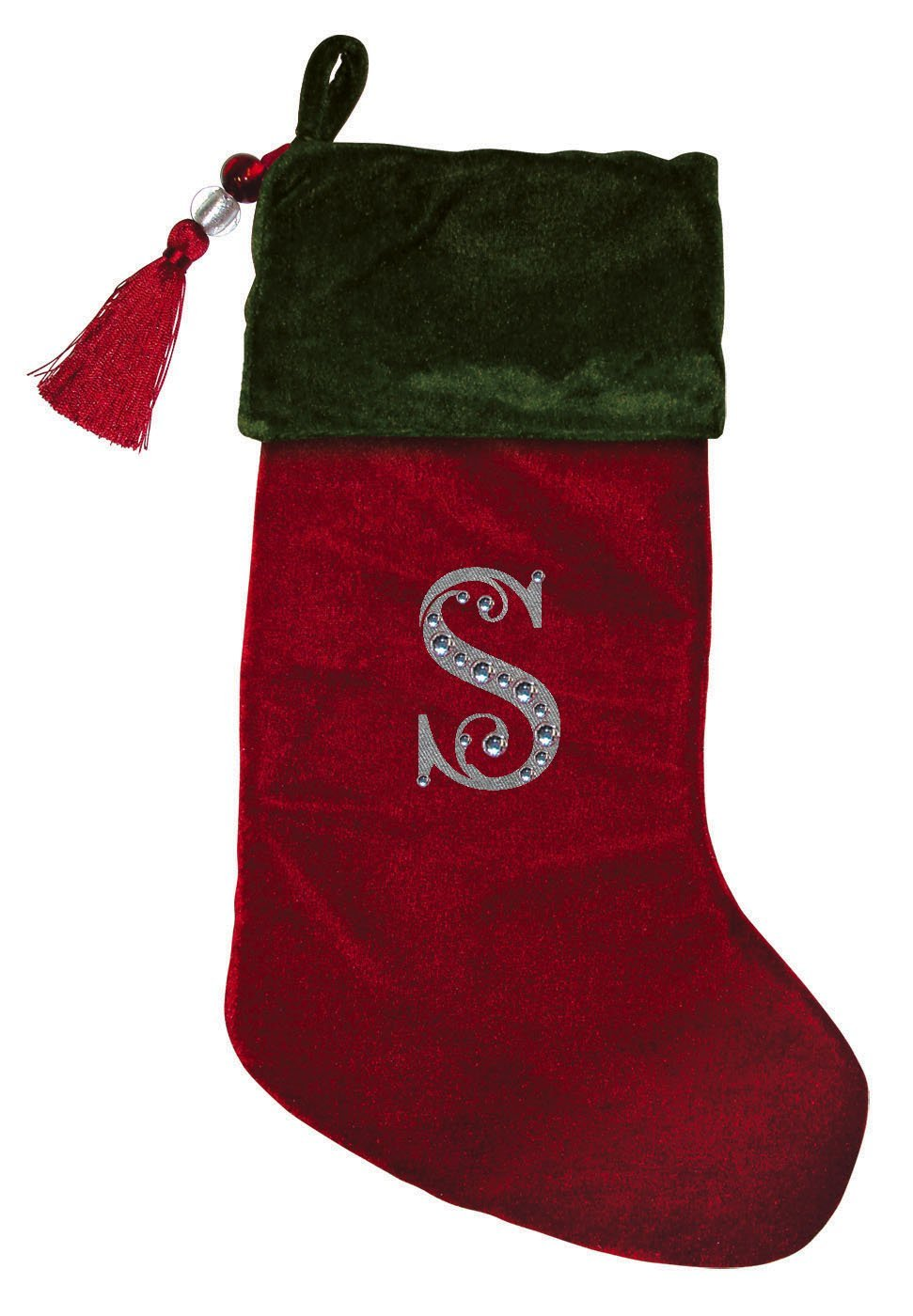 christmas stocking red green velvet with tassel rhinestone monogram a the size is 80 x 185 by evergreen from usa walmartcom